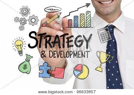 Businessman writing on camera with a black marker pen against strategy and development doodle