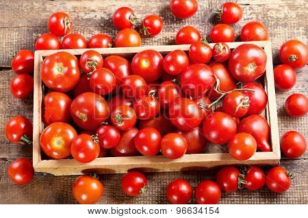 Tomatoes In A Wooden Box