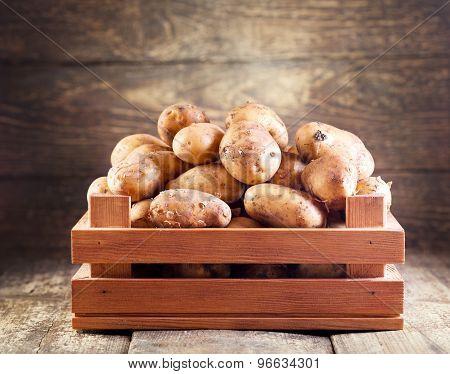 Potatoes In Wooden Box