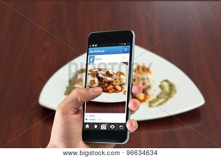 hand holding smartphone against high angle view of chicken dish with salsa