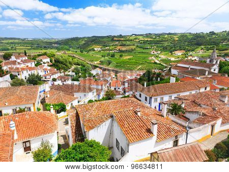 View Of Old Town Obidos In Portugal