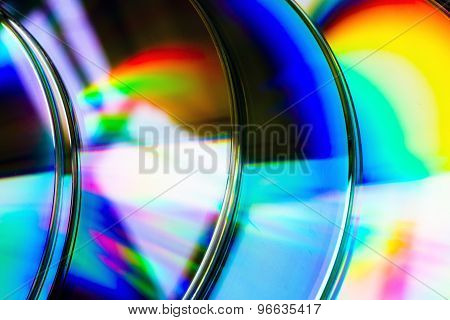 Abstract Background Cd Disk With Defocused Refraction Of Light In Reflection