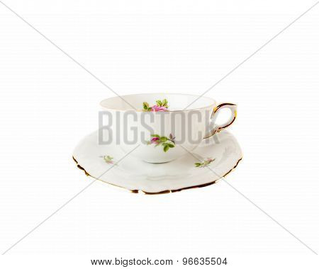 White porcelain Teacup and saucer with pattern of rose