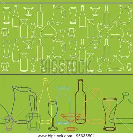 variety of silhouettes of bottles and glasses