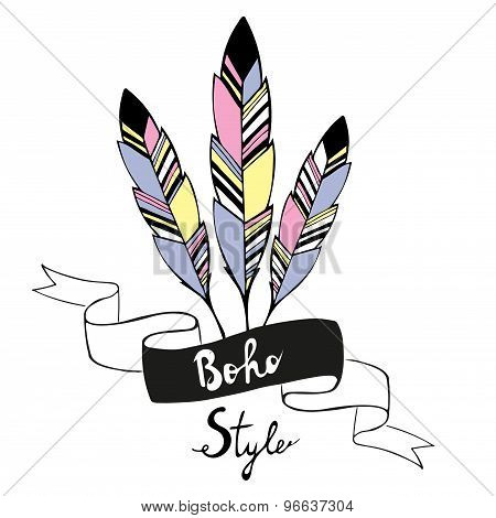 Hand drawn bird feathers with ribbon