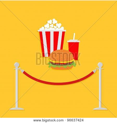 Red Rope Barrier Stanchions Turnstile Popcorn, Hamburger, Soda With Straw. Cinema Icon In Flat Desig