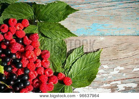 Raspberry And Black Currant On Leaves On The Wooden Background
