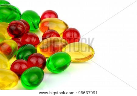 Soft Gelatin Capsule Medicine On White Background.