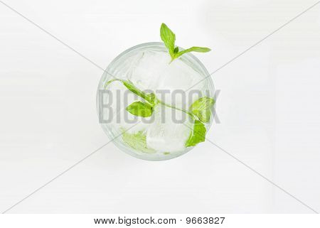 Glass Of Water With Mint And Ice