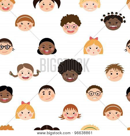 Vector Seamless Pattern With Chlidren's Smiling Faces. Boys And Girls With Different Color Skin