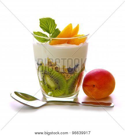 Fresh Yogurt With Kiwi Isolated.