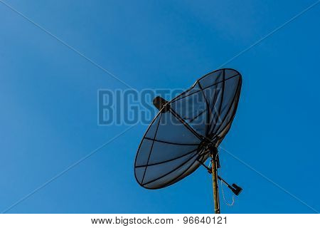 Satellite Dish Dilapidated And Blue Sky