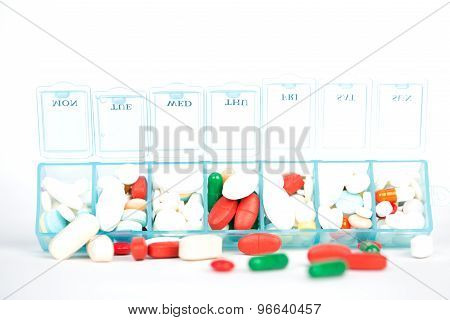 Medicine Tablet And Capsule In Weekly Pill Box