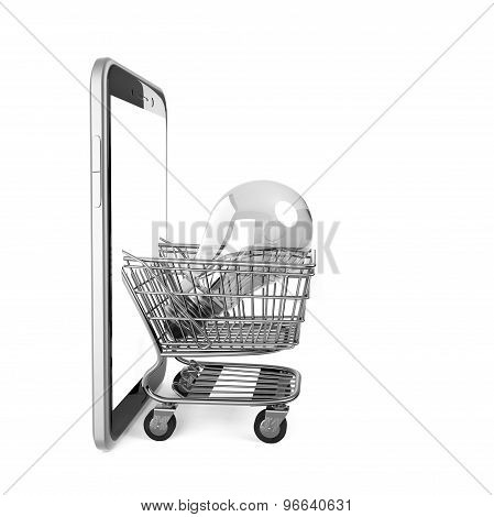 Shopping Cart With Light Bulb Appearing From Smart Phone