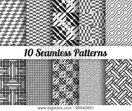 Black and white geometric seamless patterns