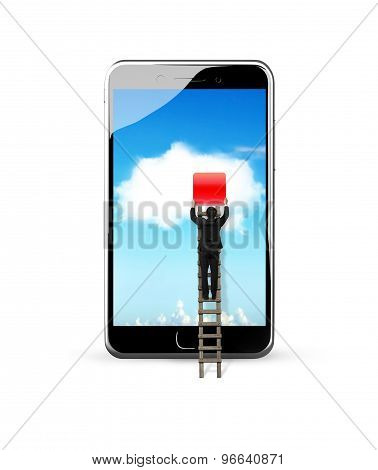 Smart Phone With White Cloud Application