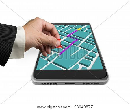 Touchscreen Smartphone With Gps Navigation Application