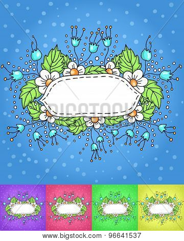 delicate frame with white flowers and leaves. set of multi-colored background