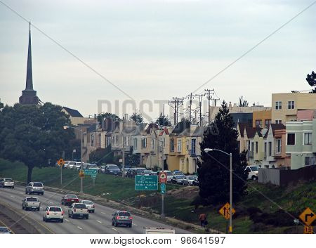 SAN FRANCISCO, CA - NOVEMBER 16: California State Route 1 Historic Route with Cityscape  2012