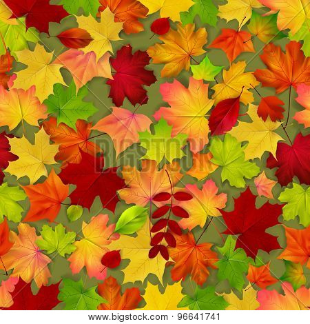 Seamless With Red And Yellow Autumn Leaves