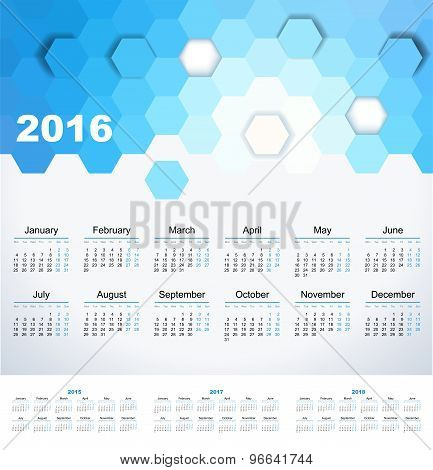 Calendar 2015, 2016, 2017, 2018 Year. Week Starts From Monday.