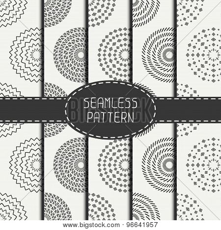 Set of  geometric monochrome art hipster line seamless pattern with circle, round. Collection of wra