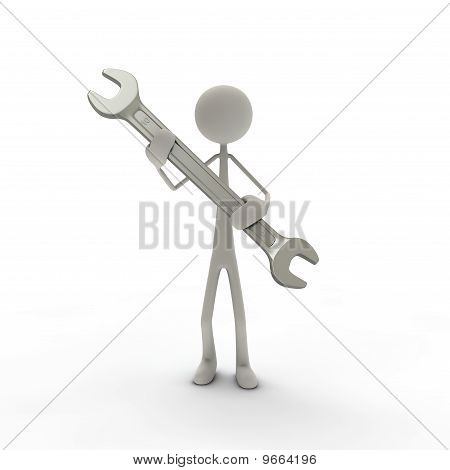 Figure with screw wrench grey