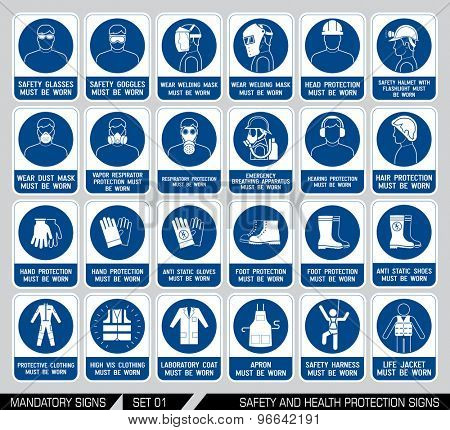 Set of safety and health protection signs. Mandatory construction and industry signs. Collection of safety equipment. Protection on work. Vector illustration.