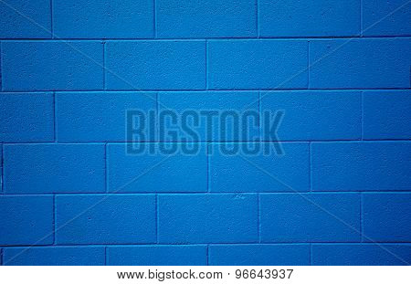 Blue Colored Brick Background.