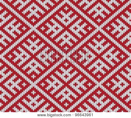 vector knitting seamless background: ornamental pattern
