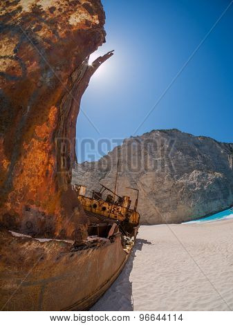 The famous Navagio Shipwreck beach in Zakynthos island Greece