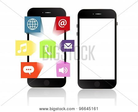 Smartphone Apps Touchscreen Smartphone With Application Software Icons