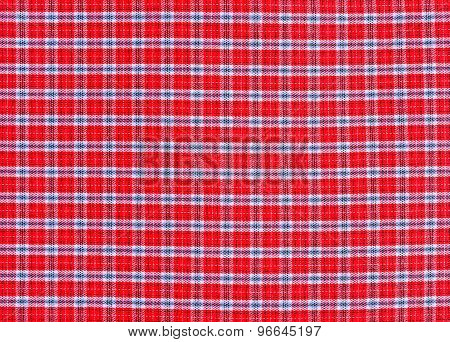 Texture Of Red Tartan Plaid Textile Fabric