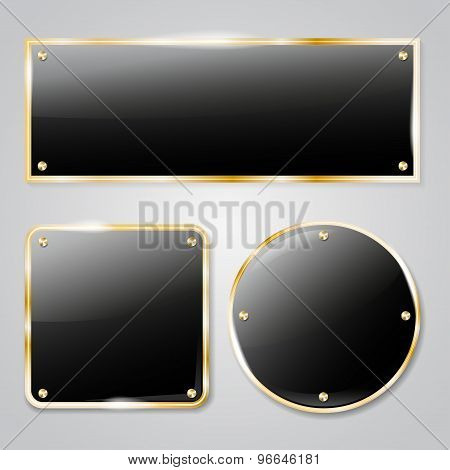 Shiny Dark Glass Frames With Golden Elements