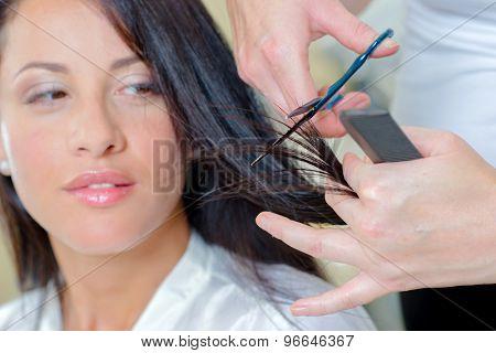 Brunette having her hair restyled
