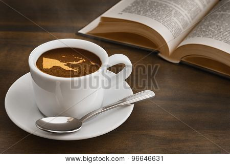 Still Life - Coffee With Map Of Papua New Guinea