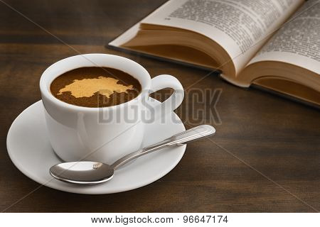 Still Life - Coffee With Map Of Switzerland