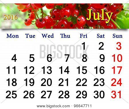 Calendar For July 2016 With Snowball Tree