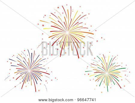 The vector illustration of fireworks on white background