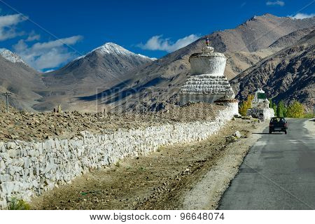 Buddhist Stupa , Snow Peak, Mountains, Road At Leh Highway, Ladakh, Jammu & Kashmir, India