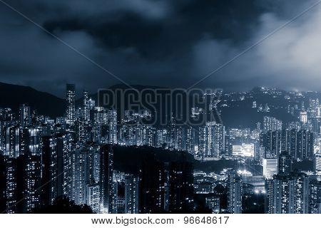 Panoramic skyline and cityscape of Hongkong at night