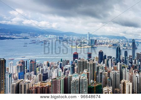 high angle view of skyline and cityscape of hong kong