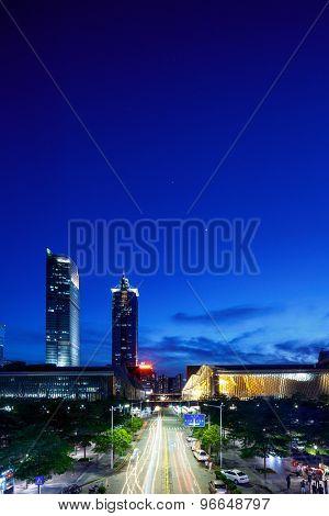 Illuminated modern skyline and buildings