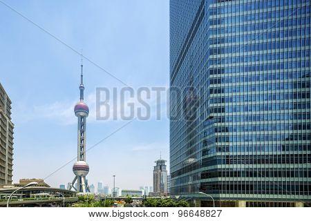 modern buildings and landmark in shanghai