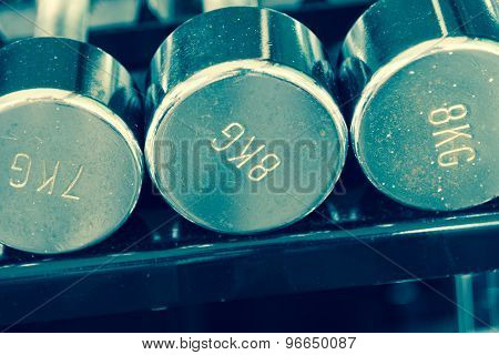 Dumbells Closeup In Gym