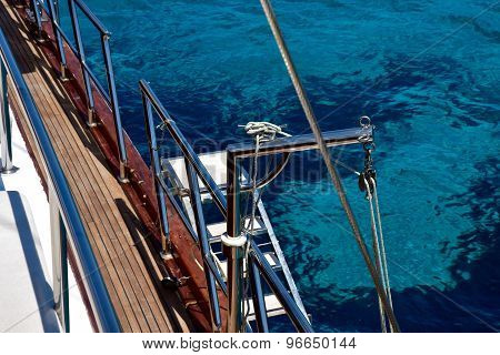 View of clear water from the top deck of a yacht