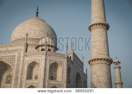 Close up view of Taj Mahal from North-East side. Post-processed with grain, texture and colour effect.