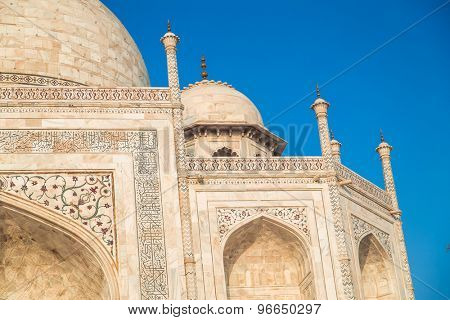 Close up view of Taj Mahal from East side.