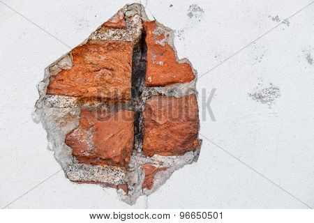 Chipped Concrete And Brick Wall