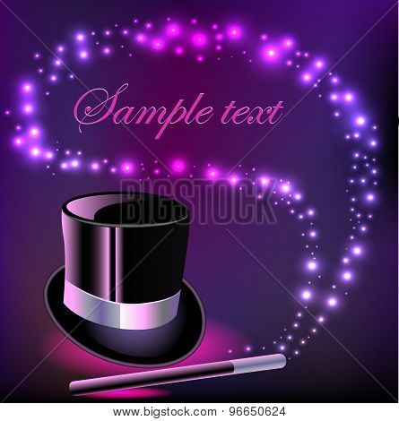 illustration background with a hat and a magic wand to copy space